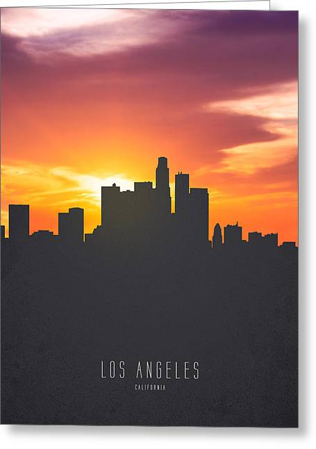 Los Angeles California Sunset Skyline 01 Greeting Card