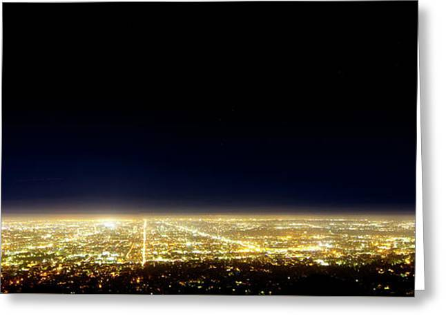 Los Angeles City Skyline Greeting Card by Mark Andrew Thomas