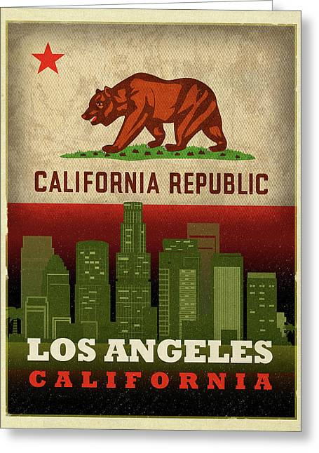 Los Angeles City Skyline State Flag Of California Art Poster Series 011 Greeting Card