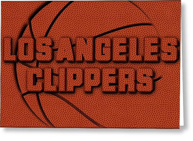 Los Angeles Clippers Leather Art Greeting Card by Joe Hamilton
