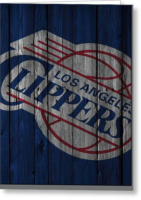 Los Angeles Clippers Wood Fence Greeting Card by Joe Hamilton