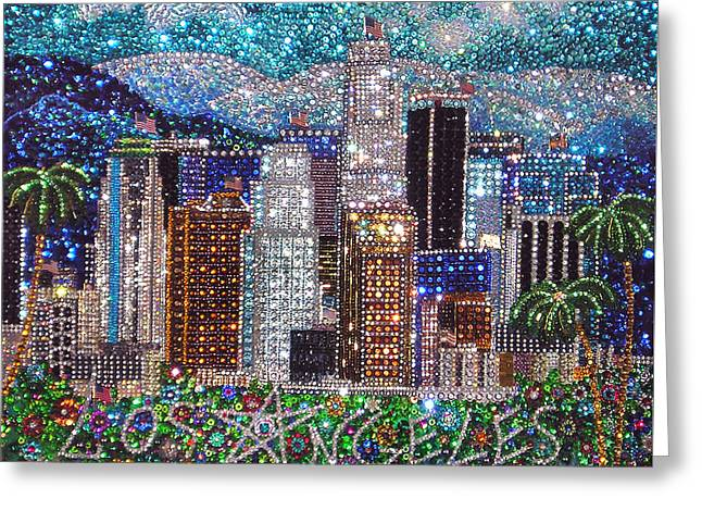 Los Angeles Downtown Crystal Beadwork  Greeting Card by Sofia Metal Queen