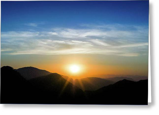 Greeting Card featuring the photograph Los Angeles Desert Mountain Sunset by T Brian Jones
