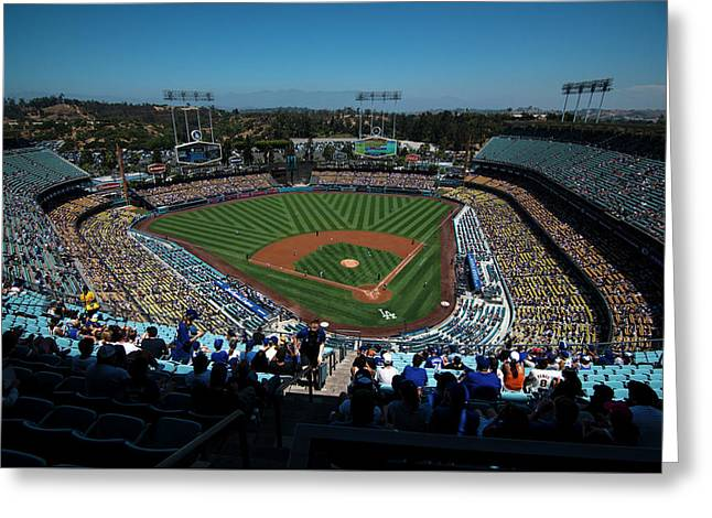 Greeting Card featuring the photograph Los Angeles Dodgers Dodgers Stadium Baseball 2043 by David Haskett