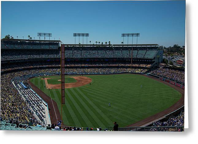 Greeting Card featuring the photograph Los Angeles Dodgers Dodgers Stadium Baseball 2063 by David Haskett