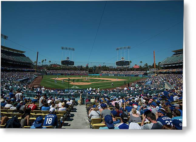 Greeting Card featuring the photograph Los Angeles Dodgers Dodgers Stadium Baseball 2110 by David Haskett