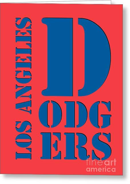 Los Angeles Dodgers Typography Orange Greeting Card