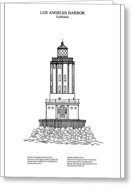 Architectural blueprint greeting cards page 13 of 29 fine art los angeles harbor lighthouse california blueprint drawing greeting card malvernweather Choice Image