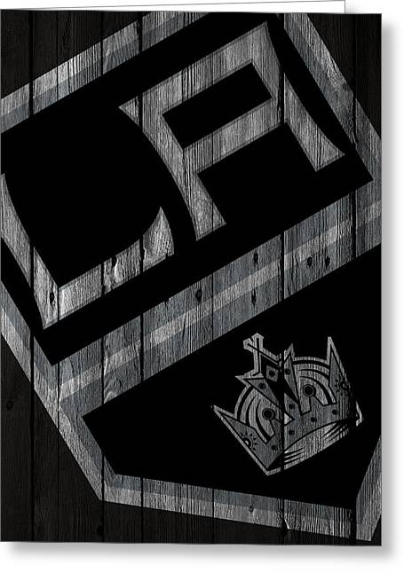 Los Angeles Kings Wood Fence Greeting Card by Joe Hamilton