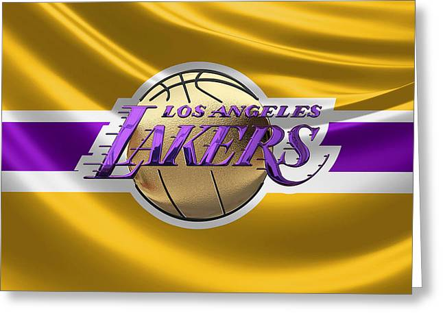 Los Angeles Lakers - 3 D Badge Over Flag Greeting Card by Serge Averbukh