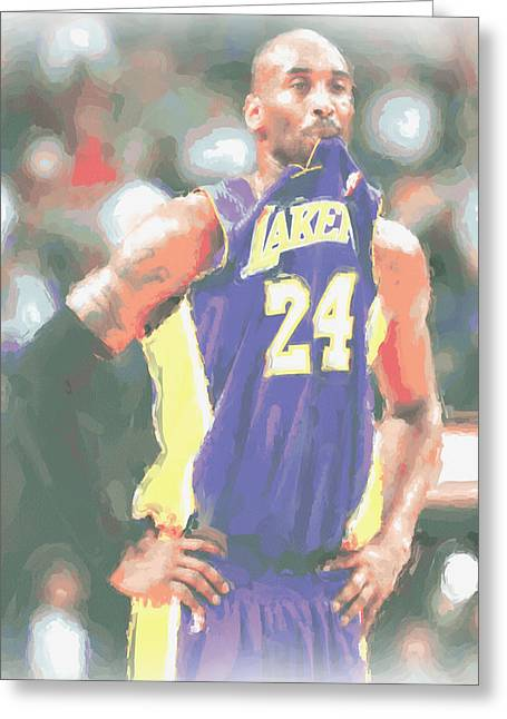 Los Angeles Lakers Kobe Bryant 3 Greeting Card by Joe Hamilton