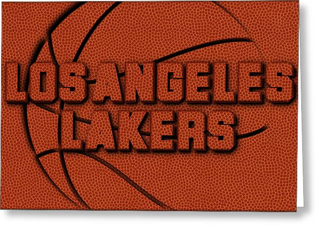 Los Angeles Lakers Leather Art Greeting Card by Joe Hamilton