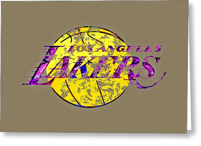 Los Angeles Lakers Paint Splatter Greeting Card by Brian Reaves