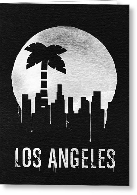Los Angeles Landmark Black Greeting Card by Naxart Studio