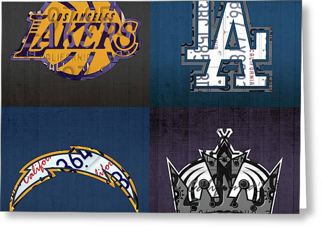 Los Angeles License Plate Art Sports Design Lakers Dodgers Chargers Kings Greeting Card by Design Turnpike