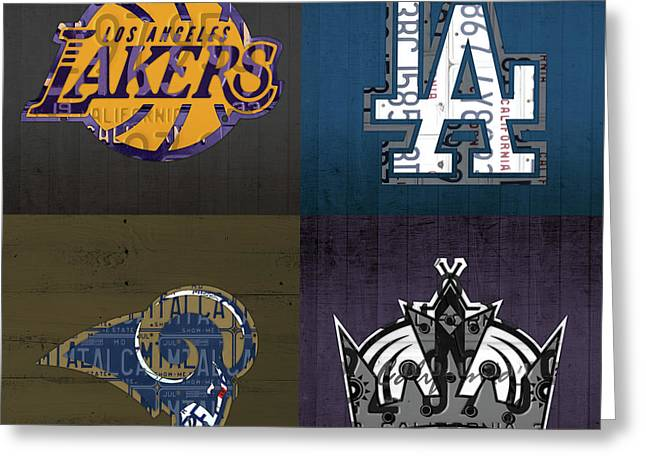 Los Angeles License Plate Art Sports Design Lakers Dodgers Rams Kings Greeting Card