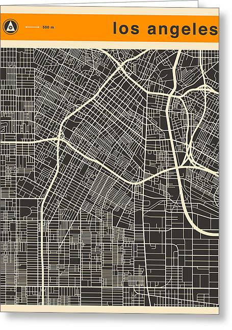 Los Angeles Map Greeting Card by Jazzberry Blue