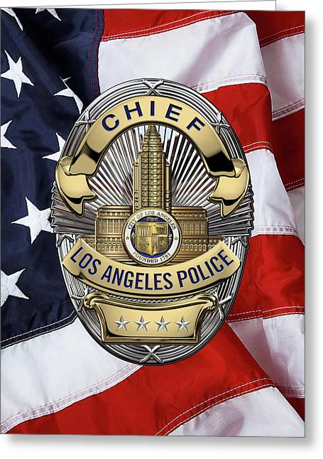Los Angeles Police Department  -  L A P D  Chief Badge Over American Flag Greeting Card by Serge Averbukh