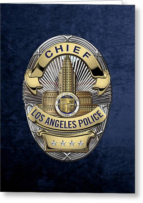 Los Angeles Police Department  -  L A P D  Chief Badge Over Blue Velvet Greeting Card by Serge Averbukh