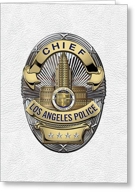 Los Angeles Police Department  -  L A P D  Chief Badge Over White Leather Greeting Card