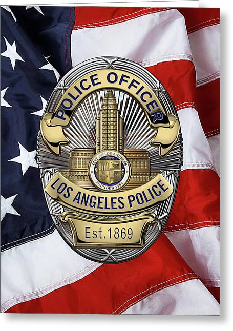 Los Angeles Police Department  -  L A P D  Police Officer Badge Over American Flag Greeting Card