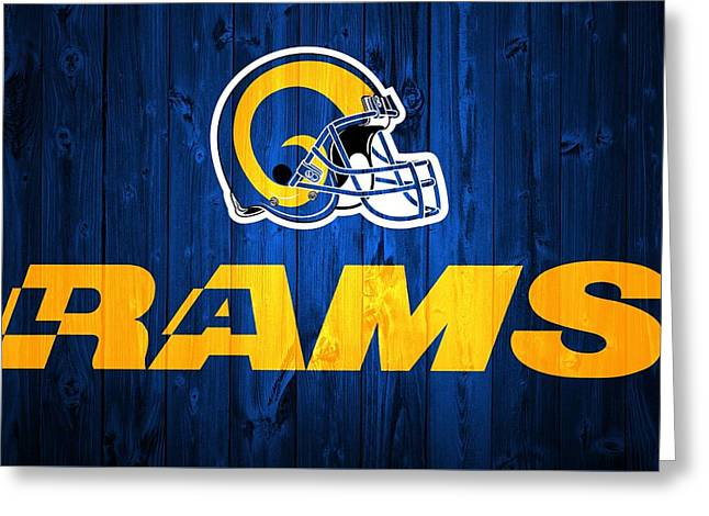 Los Angeles Rams Barn Door Greeting Card by Dan Sproul