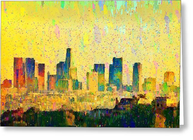 Los Angeles Skyline 1 - Da Greeting Card by Leonardo Digenio