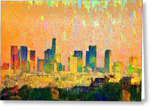 Los Angeles Skyline 10 - Da Greeting Card by Leonardo Digenio
