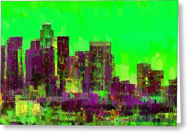 Los Angeles Skyline 105 - Da Greeting Card by Leonardo Digenio