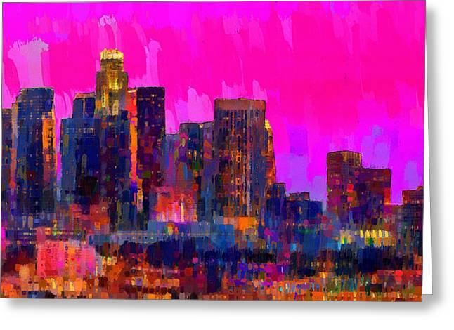Los Angeles Skyline 110 - Pa Greeting Card