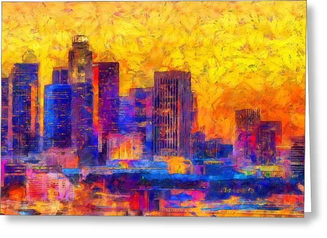 Los Angeles Skyline 122 - Pa Greeting Card