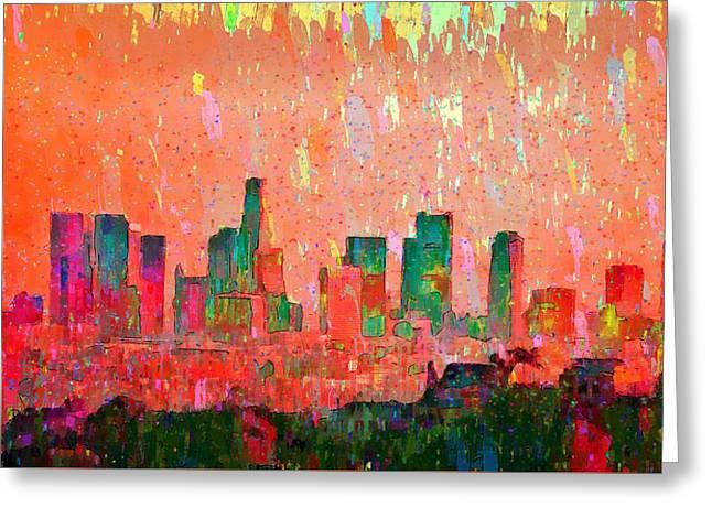 Los Angeles Skyline 3 - Da Greeting Card
