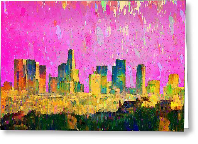 Los Angeles Skyline 8 - Pa Greeting Card by Leonardo Digenio