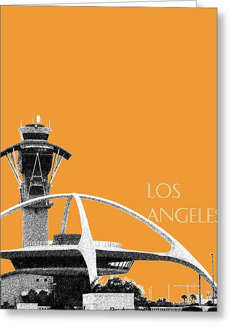 Los Angeles Skyline Lax Spider - Orange Greeting Card by DB Artist