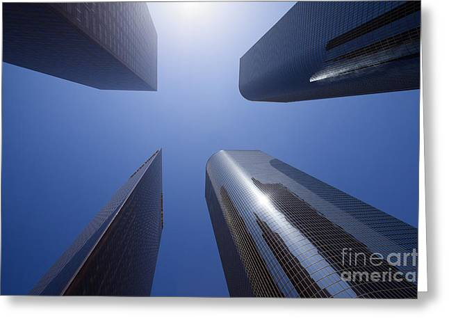 Los Angeles Skyscrapers Upward View Greeting Card by Paul Velgos