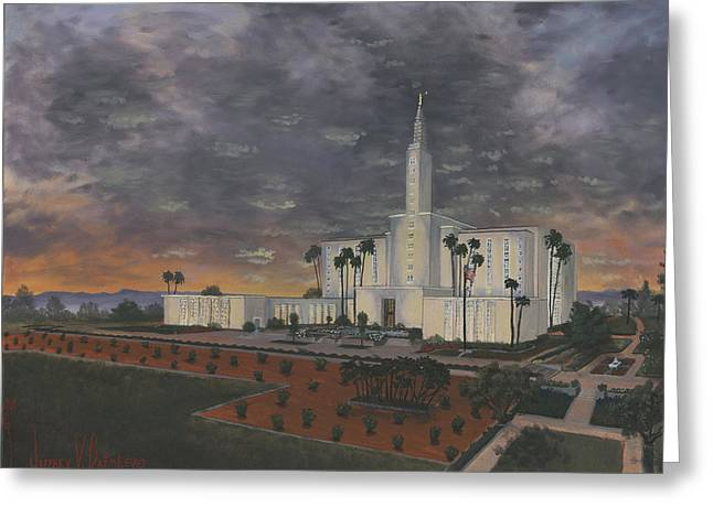 Los Angeles Temple Evening Greeting Card by Jeff Brimley