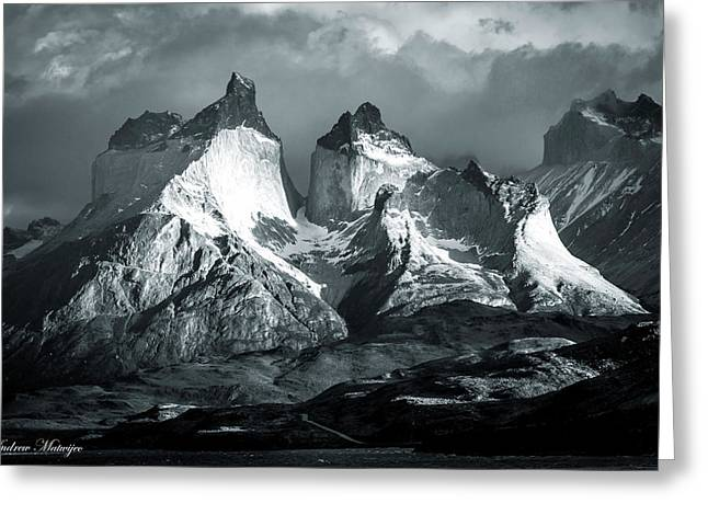 Los Cuernos In Black And White Greeting Card by Andrew Matwijec