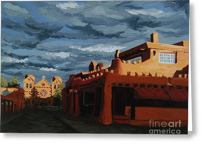 Greeting Card featuring the painting Los Farolitos,the Lanterns, Santa Fe, Nm by Erin Fickert-Rowland