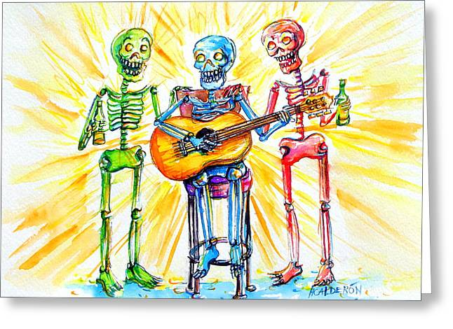 Greeting Card featuring the painting Los Tres Cantantes by Heather Calderon