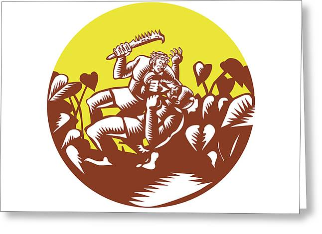 Losi Defeating God Circle Woodcut Greeting Card by Aloysius Patrimonio