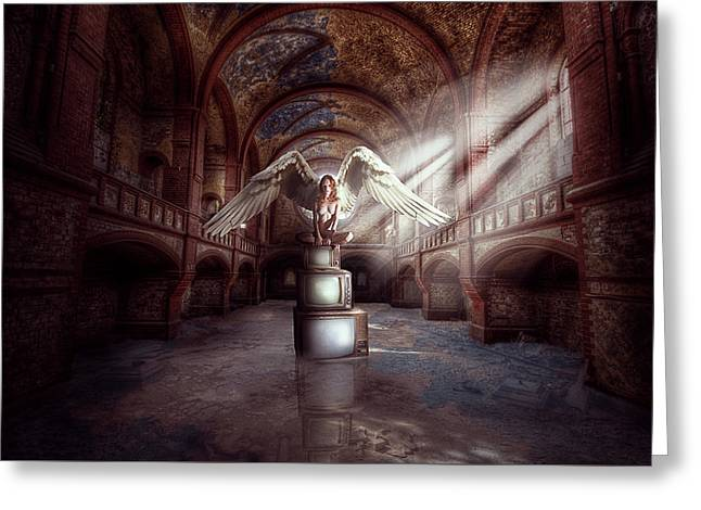 Greeting Card featuring the digital art Losing My Religion by Nathan Wright