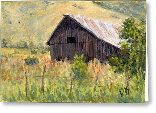 Greeting Card featuring the painting Lost Barn by David King