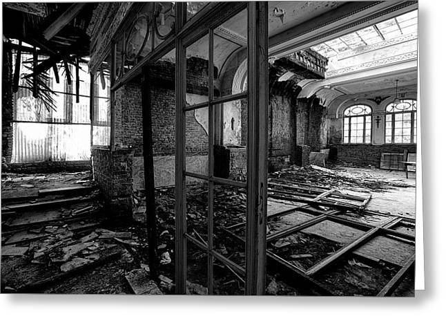 Lost Glory Hotel Lobby - Abandoned Building Urbex Bw Greeting Card