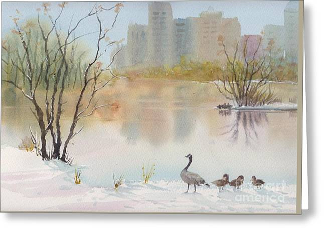 Lost Lagoon In Snow Greeting Card by Yohana Knobloch