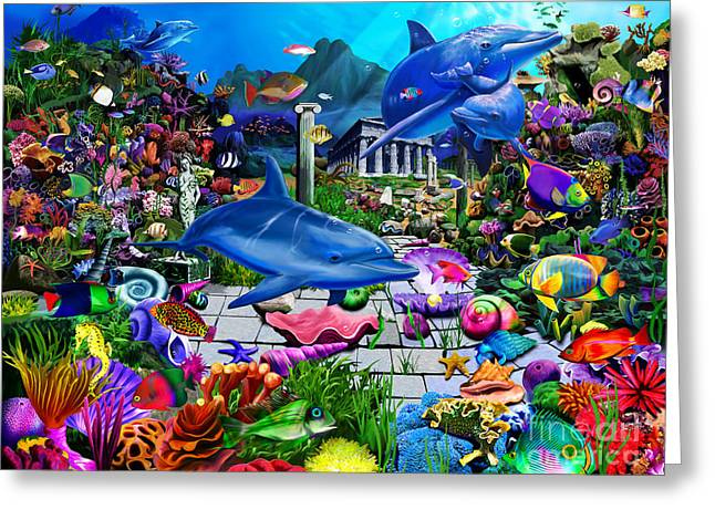 Scuba Diving Greeting Cards - Lost Undersea World Greeting Card by Gerald Newton