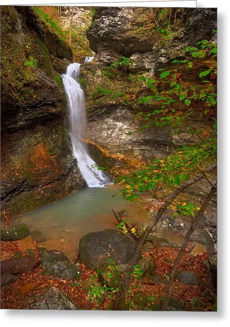 Lost Valley Falls Greeting Card by Ryan Heffron