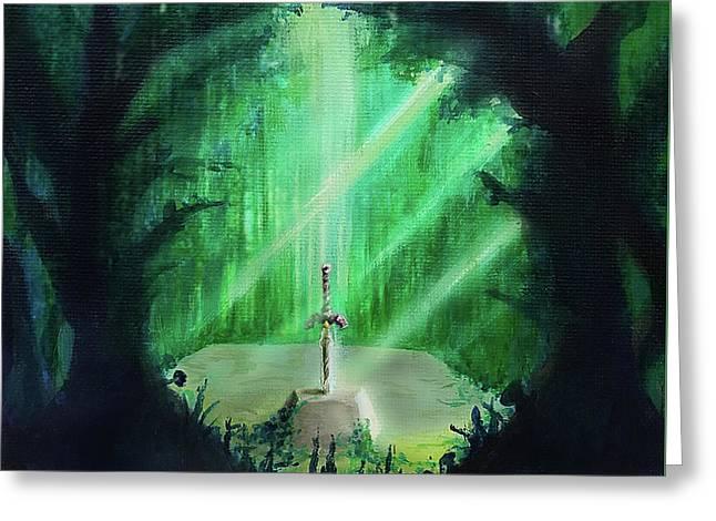 Lost Woods Master Sword Greeting Card by Ivan Florentino Ramirez