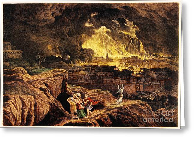 Lot And Family Fleeing Sodom Greeting Card by Wellcome Images
