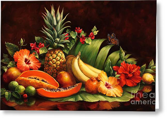 Lots Of Fruit Greeting Card by Laurie Hein