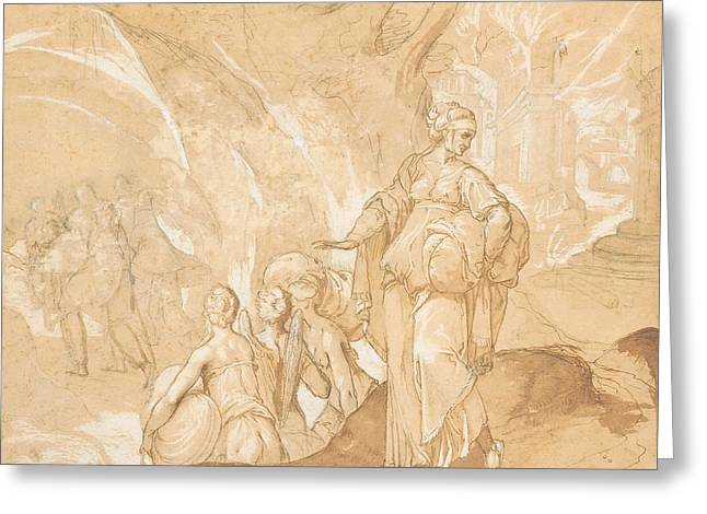 Lot's Wife Looking Back At The Destruction Of Sodom And Gomorrah  Greeting Card by Toussaint Dubreuil